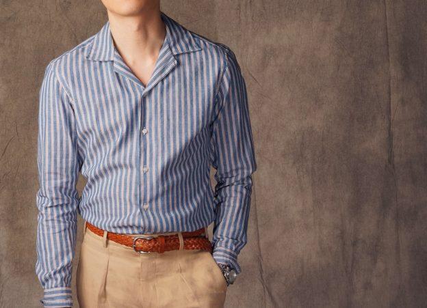 Deux chemises à col ouvert en denim japonais