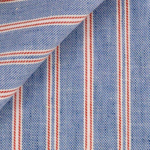 Tissu Denim rayé bleu rouge coton lin SK24028