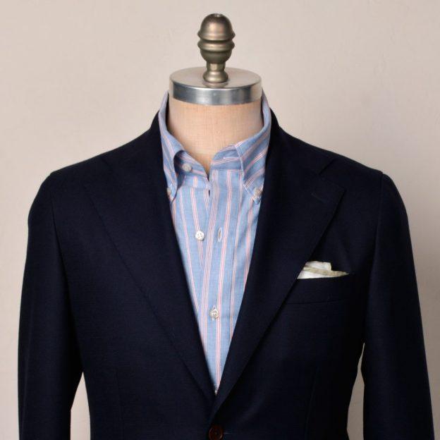 veste-bleue-chemise-oxford-raye-bleu-rouge-gorge-leda
