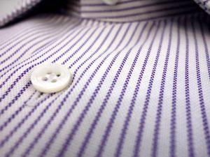 bouton nacre australienne chemise oxford raye bleu