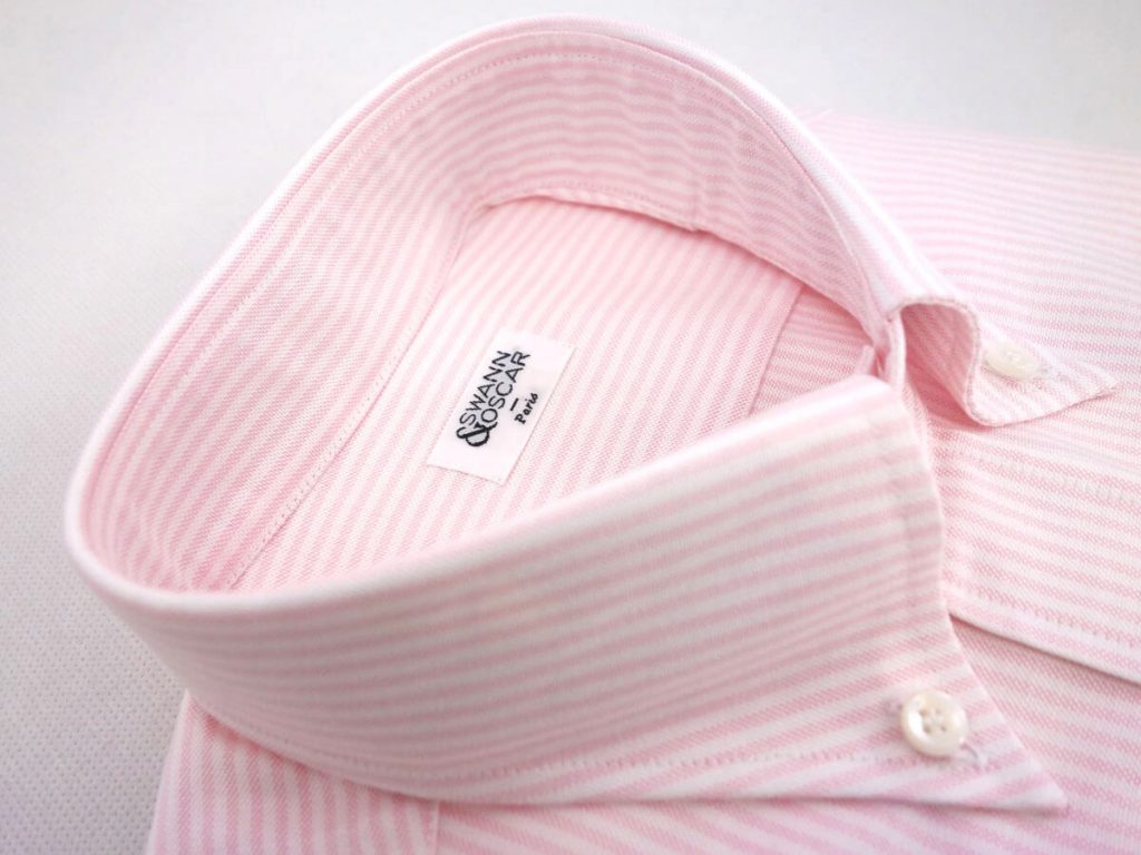 chemise oxford raye rose col button down