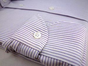 poignet demi lune chemise oxford raye bleu