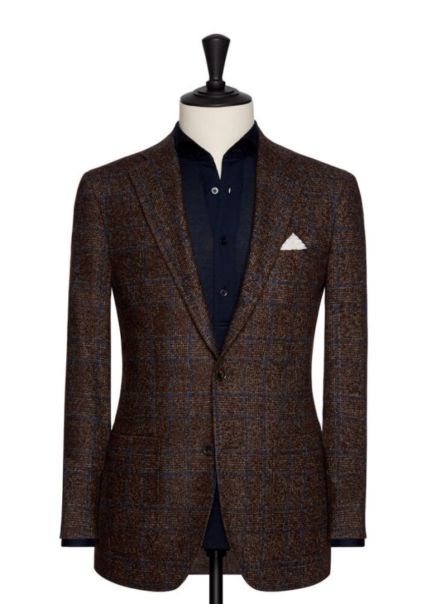 Veste marron prince de galles Loro Piana boucle twister