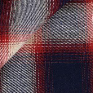 tissu chemise carreaux bleu rouge