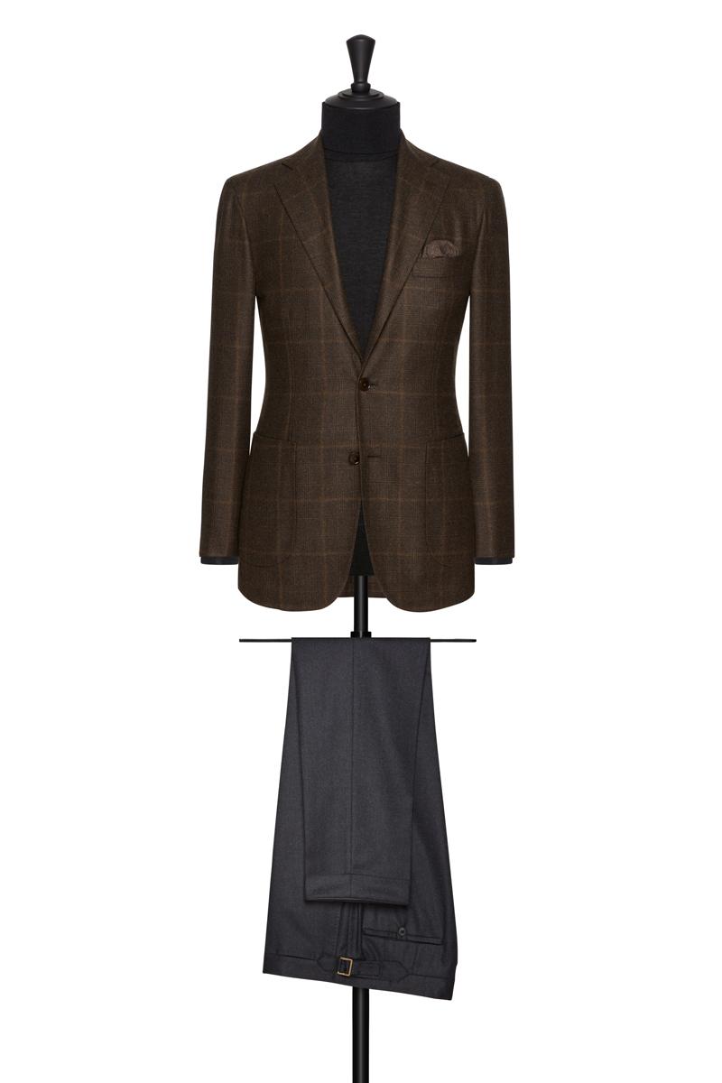 veste-marron-pantalon-flanelle-grise