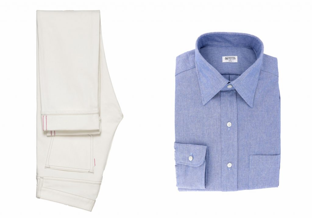 look-jeans-blanc-chemise-col-hirondelle