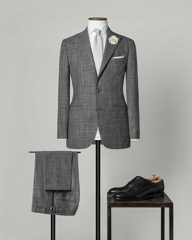 Costume Mariage gris laine et soie